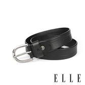 背包族【ELLE HOMME】品牌休閒皮帶/商務皮帶(黑色)-金屬馬蹄鐵