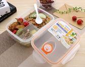 飯盒學生微波爐可愛透明便當盒長方形塑料食堂分隔格簡約保鮮盒年貨慶典 限時鉅惠