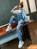 吊帶褲~牛仔吊帶褲女2020年春季新款時尚韓版寬鬆直筒吊帶褲減齡連身褲子