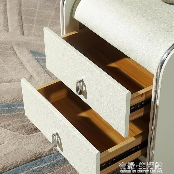 床頭櫃皮質簡約現代歐式帶鎖迷你小臥室收納儲物實木色軟包櫃整裝AQ 有緣生活館