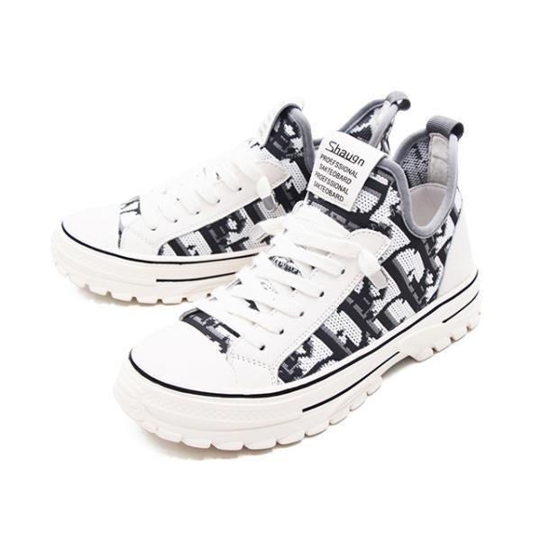 【南紡購物中心】WALKING ZONE(女)圓頭高筒飛線編織休閒鞋女鞋-米白(另有黑)