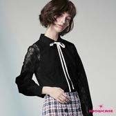 【SHOWCASE】氣質二件式緞帶領結蕾絲長袖襯衫(黑)