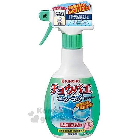〔小禮堂〕日本KINCHO 日製浴室除蟲噴霧 《綠》300ml.除菌劑.除蟲劑.浴廁清潔 4987115-54534