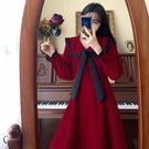 VK精品服飾 韓系名媛純色娃娃翻領大碼時尚修身長袖洋裝