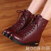 秋冬季馬丁靴英倫風瘦瘦雪地棉鞋加絨學生潮皮鞋短靴女鞋子女靴子    MOON衣櫥