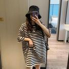 條紋短袖t恤女純棉2021夏裝網紅ins潮韓版寬鬆中長款上衣服慵懶BF 快速出貨