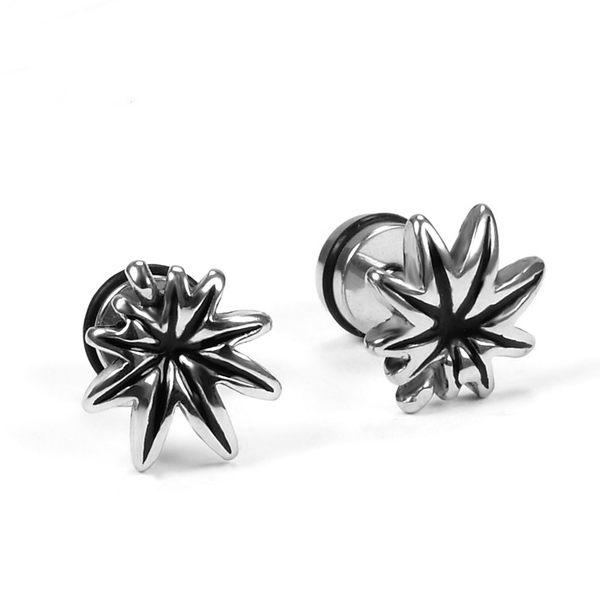 316L醫療鋼 楓葉麻葉子 旋轉式耳環-銀 防抗過敏 單支販售