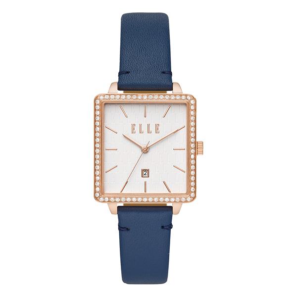 ELLE  Ile De La Cite 系列方型晶鑽腕錶-深藍
