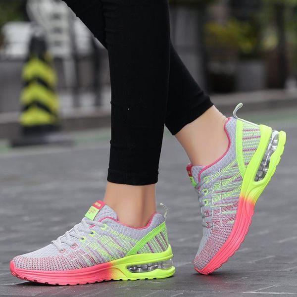 春季新款網面系帶學生跑步鞋單鞋圓頭女鞋 限時八八折