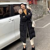 羽絨夾克-白鴨絨-大毛領連帽寬鬆長版女外套4色73zc31【時尚巴黎】