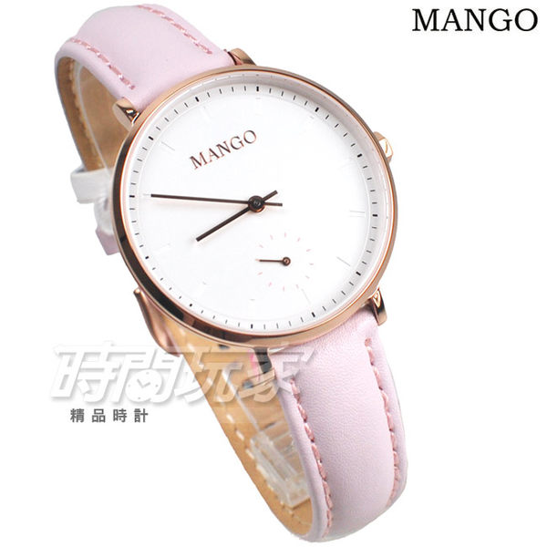 MANGO 浪漫優雅城市 小秒盤 女錶 防水手錶 學生錶 藍寶石水晶 不銹鋼 玫瑰金x粉紅 MA6722L-10R