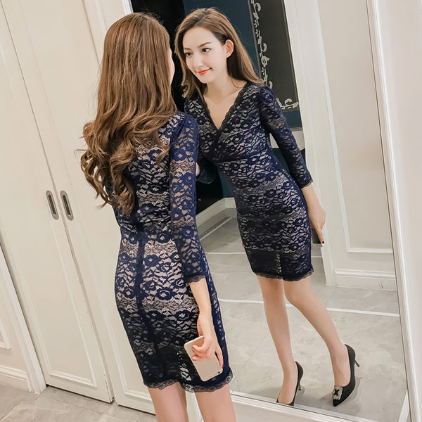 VK精品服飾 韓國風氣質顯瘦包臀蕾絲性感夜店露背長袖洋裝
