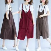 牛仔裙 大口袋 牛仔棉吊帶裙 中長款 連身裙 Q170 魔法QQ【預購】
