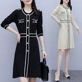 第二件4折 韓國風大碼顯瘦菱形格紋毛衣針織衫長袖洋裝