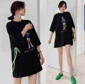韓印花百搭短袖上衣L-2XL寬鬆大碼系帶繩子腰帶港味短袖T恤景1F5.6250一號公館