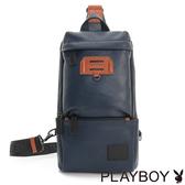 PLAYBOY- 單肩背包 拚色城市系列-學院藍
