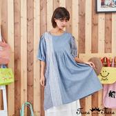 【Tiara Tiara】百貨同步新品ss 格紋條紋拼接洋裝(藍/卡其)