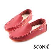 SCONA 全真皮 經典手工懶人鞋 橘紅色 7252-3