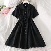 娃娃領洋裝 減齡顯瘦黑色連身裙夏季新款法式復古娃娃領收腰顯瘦短袖小黑裙  suger