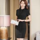 ZY-7167-PF)2XL)翻領拚色俏麗領飾修身條紋顯腰連衣裙洋裝 (不含腰帶)~美之札