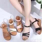 坡跟涼鞋 夏季涼鞋女皮質軟底防滑中年坡跟厚底媽媽鞋孕婦平底中跟皮鞋 百分百
