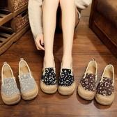 草編鞋 民族風亞麻布鞋透氣草編漁夫鞋平跟厚底一腳蹬懶人鞋學生帆布鞋女-Ballet朵朵