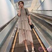 洋裝 2019早春新款中長款過膝不規則網紗短袖連身裙女裝顯瘦仙女蛋糕裙 一次元