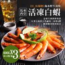 【屏聚美食】特大馬來海水養殖活凍31/35生白蝦3包(600G/約20尾)免運