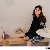《DA7197-》格紋拼接寬鬆連帽洋裝 OB嚴選