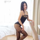 性感吊帶襪超薄透明開襠誘惑連身全身情趣絲襪連褲襪       伊芙莎