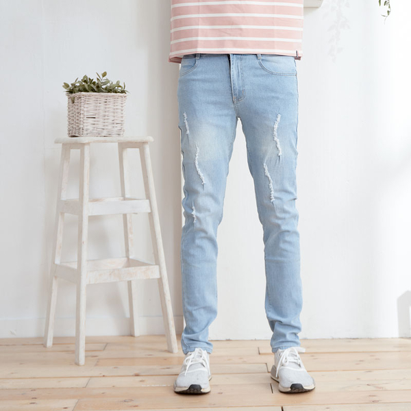 美式質感藍造型刮破牛仔褲