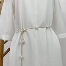 腰鏈 腰封 簡約珍珠女時尚裝飾連身裙 皮草女士腰帶細鏈條優雅百搭毛衣鏈  店慶降價
