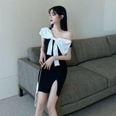 2020夏季新款韓版名媛氣質蝴蝶結包臀開叉露肩小性感成熟洋裝女