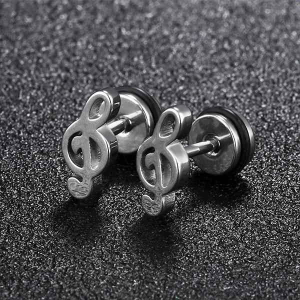 316L西德白鋼 音符造型耳環 抗過敏不生鏽 型男推薦 好友禮物推薦 單個價【EKS418】Z.MO鈦鋼屋