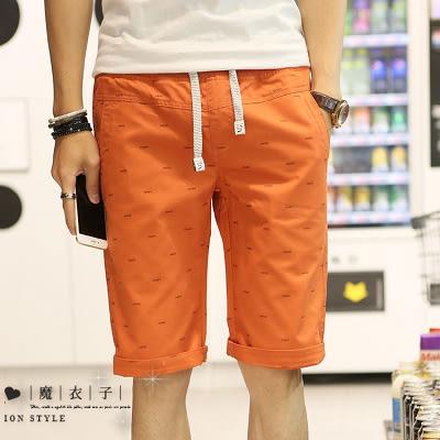 【QY109】魔衣子-夏季新款抽繩休閒寬鬆五分褲