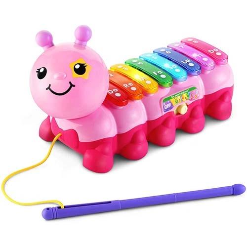 【 Vtech 聲光玩具 】2合1動感敲敲毛毛蟲 - 粉 ╭★ JOYBUS玩具百貨