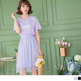 《DA5754-》高含棉字母燙印拼接網紗裙腰鬆緊洋裝 OB嚴選
