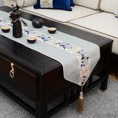 全館免運 新中式禪意桌旗現代簡約餐桌茶席麻布茶旗