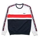 FILA 大學T 白紅藍 拼接 肩線串標 長袖 上衣 (布魯克林) 1TEV1402WT