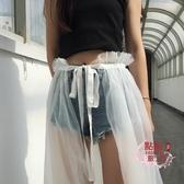 罩裙 雙層紗 一片式防曬長裙 系牛仔褲罩裙透視夏外搭透明網紗半身紗裙 HH2926
