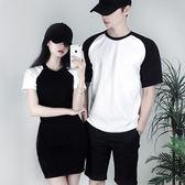 情侶裝 新款韓版修身圓領qlz短袖T恤情侶裝中長款女裝連衣裙