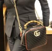 ■專櫃72折■Gucci 全新真品 602270 GG Marmont 小牛皮衍縫餐盒包 紅黑配色