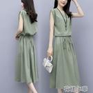 洋裝大碼連身裙夏季新款女裝減齡中長款抽繩收腰顯瘦氣質寬松裙子 快速出貨