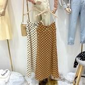 新款韓版寬鬆百搭中長款無袖打底吊帶波點雪紡洋裝女裝 俏女孩