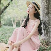 吊帶裙少女夏季正韓中長款學生文藝小清新收腰格子連衣裙 森雅成品