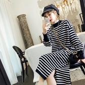 現貨-大尺碼長袖洋裝條紋寬鬆大碼針織連身裙新款秋冬季過膝長款T恤裙子5-23