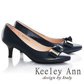 ★零碼出清★Keeley Ann簡約氣質蝴蝶結OL全真皮細跟中跟鞋(藍色)