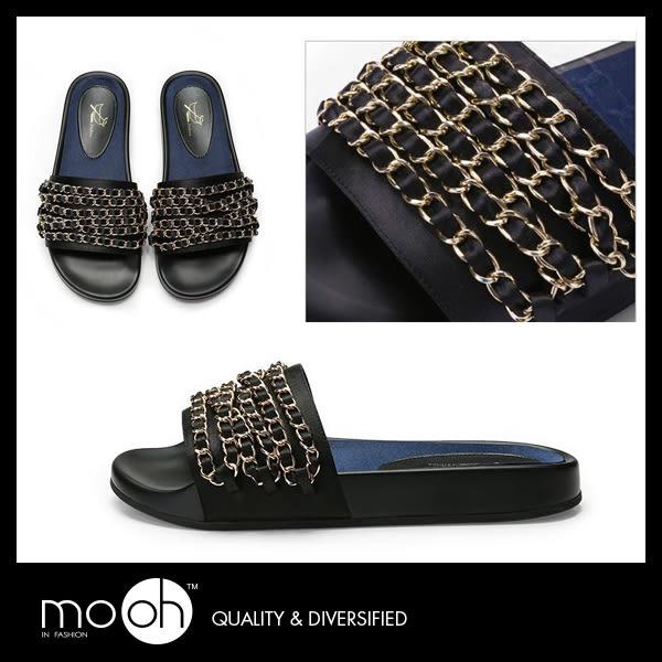 厚底拖鞋 一字拖鞋 時尚絲綢金屬鏈條平底拖鞋 mo.oh (歐美鞋款)