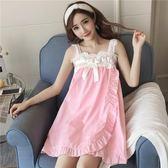 睡衣女夏季性感睡裙短袖吊帶兩件套裝純棉家居服韓版清新學生可愛·ifashion