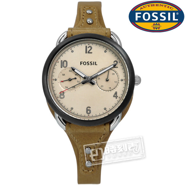 FOSSIL / ES4175 / Tailor Multifunction典雅多功能日期真皮手錶 米x黑框x卡其 34mm